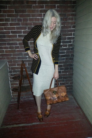 knit vintage dress - Mulberry bag - vintage cardigan - vintage heels