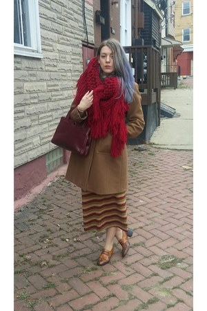oversized knit vintage scarf - wool Costume National coat - Saks 5th Ave purse