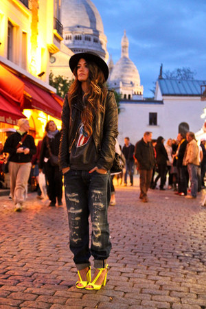 H&M t-shirt - Zara hat - Topshop leather jacket - H&M neon heels
