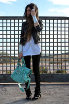 Leather Topshop jacket - Urban Outfitters leggings - balenciaga bag