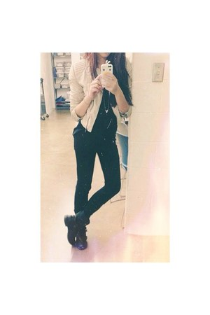 leather dieu anh jacket - skinny jeans genova jeans - silver mie necklace