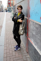 leather collar Zara coat - Topshop sweatshirt - nike sneakers