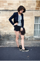 Maje bag - acne blazer - Superga sneakers - Urban Outfitters top