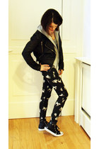 black Topshop pants - black leather jacket Topshop jacket - Converse sneakers