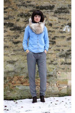 denim shirt Topshop shirt - fur snood Gap scarf - jack wills pants