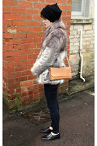 faux fur Topshop coat - acne bag