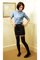 Topshop tights - denim Topshop shirt - olive skirt