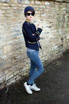 Zara blazer - Topshop jeans - Reiss hat - Converse sneakers