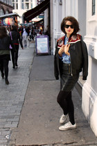leather jacket Topshop jacket - Ray Ban sunglasses - Topshop skirt