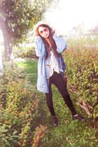 blue denim jacket jacket - cream fedora hat - black spandex leggings