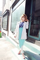 sky blue skirt - white blazer - violet top