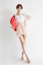 white shirt - hot pink nanda girl bag - peach Stylenanda skirt