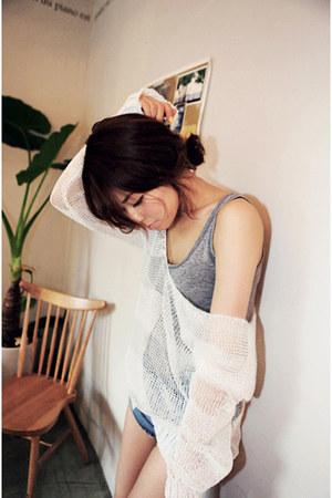 heather gray Zara top - white Hongdae Flea Market top