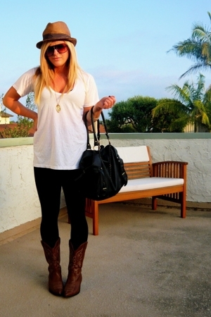 Frenchi shirt - leggings - boots - Electric chair hat - Nordstrom purse - sungla