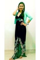 black hk dress dress - aquamarine cotton on cardigan