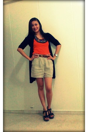 beige Forever 21 shorts - carrot orange orange top - black black Zara cardigan