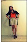 Forever-21-shorts-orange-top-black-zara-cardigan-celine-wedges