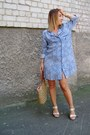 Periwinkle-topshop-dress-bronze-zara-bag-tan-aldo-sandals