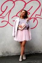 light pink Bershka coat - beige Zara boots - light pink River Island sweater