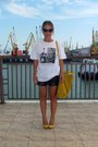 Mustard-zara-bag-black-topshop-shorts-white-poustovit-t-shirt
