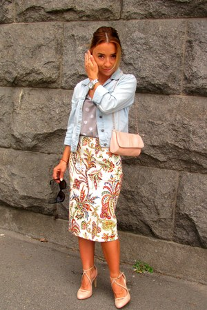 beige Zara heels - peach Stradivarius bag - heather gray Naf Naf t-shirt