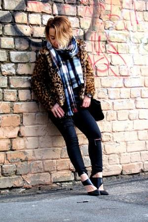 dark brown Zara jacket - black Bershka jeans - navy tartan Topshop scarf