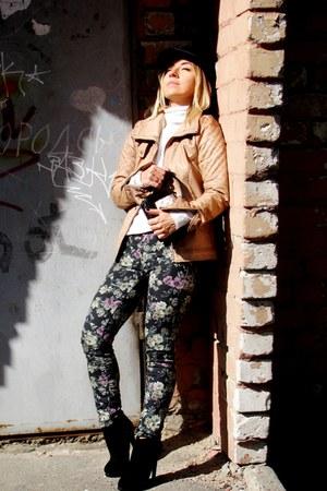 white Zara sweater - black Zara boots - puce Stradivarius jeans