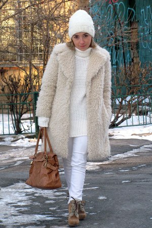 white Zara jeans - ivory wearhouse coat - bronze Accessorize bag