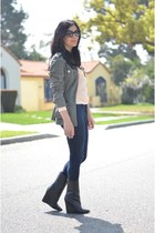 black Giuseppi Zanotti boots - navy Gap jeans - olive green Forever 21 jacket