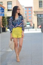 blue Anthropologie blouse - off white vintage bag - yellow Forever 21 shorts