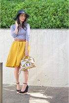 black floppy hat - mustard H&M skirt - black Zara wedges