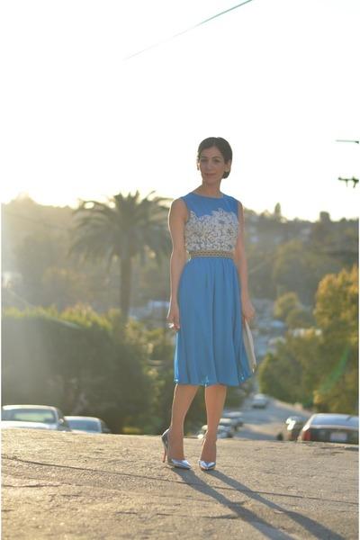 turquoise blue warehouse dress - white vintage bag - silver Shoedazzle heels