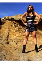 dress - heels - necklace - thrifted belt