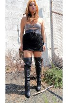 thigh high boots - clearance 4 belt - skirt - bra - feather earrings - necklace