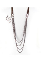 dark brown chains suede INPINKcom necklace