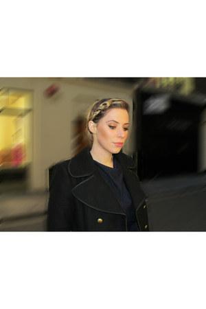 navy cowl neckline YUKI TOKYO dress - black gold buttons Zara coat