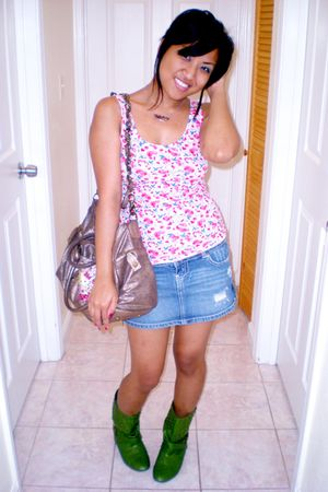 green Miss Me boots - blue Wet Seal skirt - pink Hello Kitty by H&M top - brown