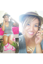 gray mossimo at target shirt - brown torrid hat - gold girlprops necklace - gold