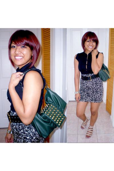 green Nila Anthony purse - black Forever21 skirt - black Forever21 top - beige N