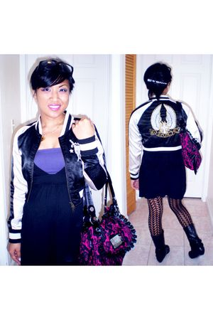 black from japan jacket - Forever21 dress - no brand bra - Forever21 tights - He