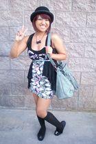 black top - black vest - black hat - black shoes - pink skirt - green bag