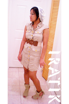 white xhiliration hat - beige papaya belt - beige dress - beige shoes - gold Ken