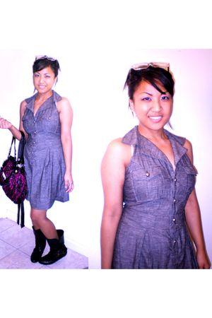 gray no brand dress - Forever21 glasses - Betsey Johnson dress - Bamboo boots