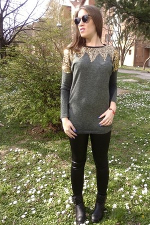 charcoal gray sequined OASAP sweater - black faux leather asos leggings