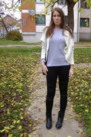 white OASAP cardigan - black biker OASAP boots - silver casul H&M top