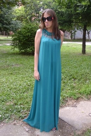 turquoise blue maxi dress Oasapcom dress - red cherries shape Oasapcom earrings