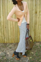 hampstead mm LouisVuitton bag - white top - peach hm cardigan - grey hm skirt -
