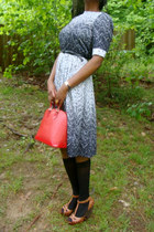 dress - red epi Louis Vuitton purse - socks - patent leather coach watch - black