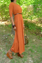 wooden bracelet - carrot orange tieres maxi dress - galleria Louis Vuitton purse