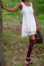 Off-white-lace-up-dress-maroon-chloe-bay-purse-crimson-knee-high-socks-pin